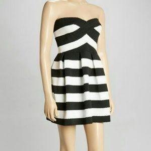 Black and White Stripe bandage dress - XS